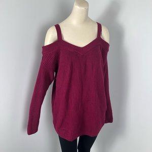 Torrid Sweater Wine V Neck Open Shoulder